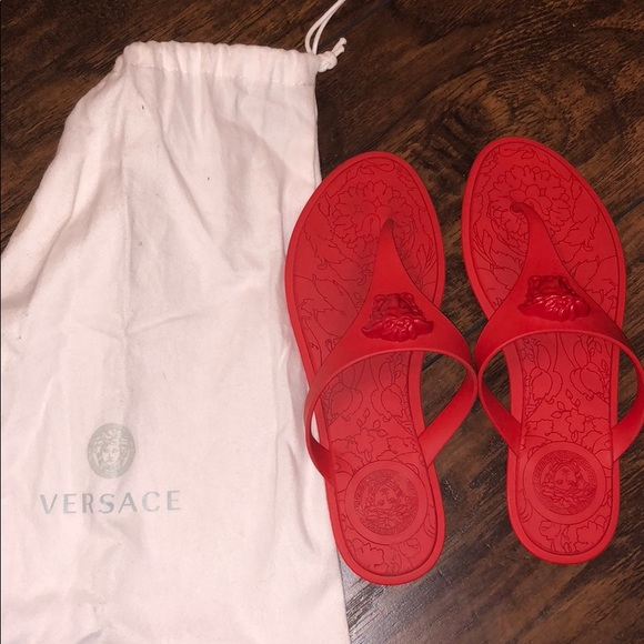 0c03af0f20a3b Versace Shoes - VERSACE SANDAL MEDUSA PALAZZO THONG SANDALS - RED